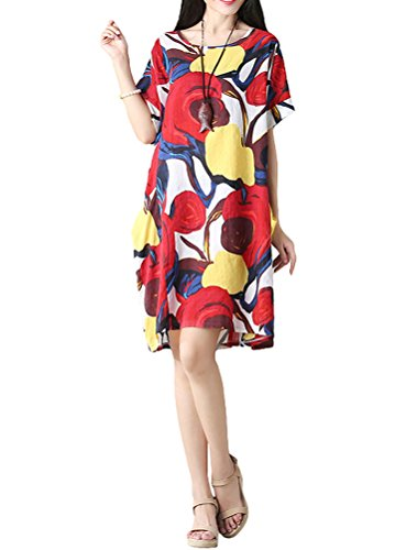 Mordenmiss Women's Summer Short Sleeve Abstract Printing Dress L Style - Sheath Belted Dress Printed