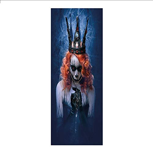 3D Decorative Film Privacy Window Film No Glue,Queen,Queen of Death Scary Body Art Halloween Evil Face Bizarre Make Up Zombie,Navy Blue Orange Black,for Home&Office]()