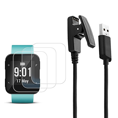 Charger Compatible Garmin Forerunner 35 with 3 pcs Screen Protectors, AFUNTA 3.3ft USB Charging Synchronous Data Cable, with 3 Pack Smart Watch Tempered Glass Protective Films by AFUNTA