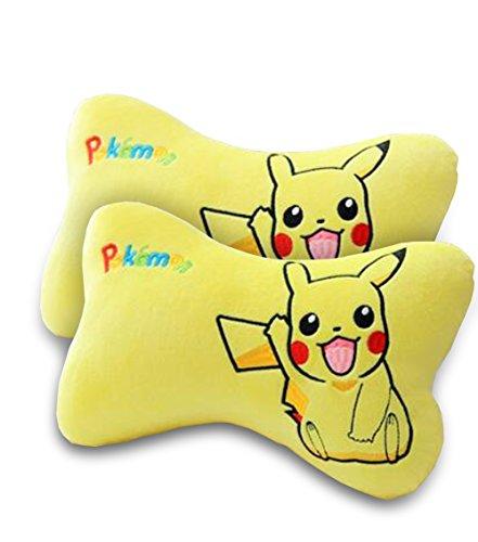 Finex - SET of 2 - Pokemon Pikachu Yellow Plush Neck Rest Head Support Cushion Pillows for Car