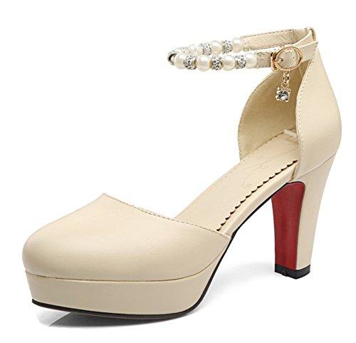 Aisun Womens Dressy Con Perline Fibbia Tacco Medio Arrotondato Punta Dorsale Sandali Con Cinturino Alla Caviglia Beige