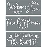 Sign Stencils for Painting on Wood - Welcome Home + Family is Forever + Home is Where The Heart is - Create Beautiful DIY Sig