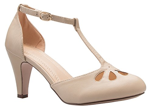 Olivia K Women's Low Heels Mary Jane Pumps - Adorable Vintage Shoes- Unique Round Toe Design with an Adjustable T Strap Nude (Retro Nude)