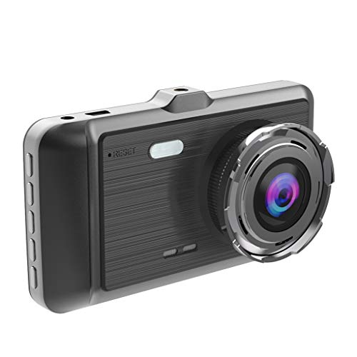 NOGOQU 4in 1080P Dual Lens Car Dashboard DVR Video Recorder Dash Cam + Rearview Camera Motion Detection and Parking Monitor