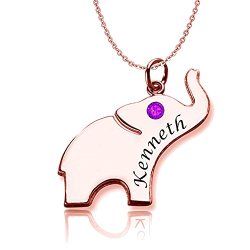 AOCHEE Personalized Elephant Name Necklace with Birthstone Custom Engraved Name Necklace (Rose Gold)