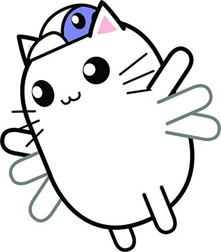 Cute Kawaii Kitty Cat in Halloween Costume Cartoon Emoji Vinyl Sticker, Flying Bird ()