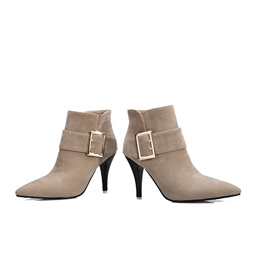 Closed Frosted Beige High Pointed Toe Ankle Women's Solid Allhqfashion Boots Heels high EPcYq7Tnx
