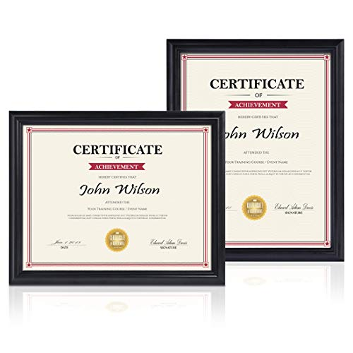PETAFLOP 8.5 x 11 Frame 2pcs Black Diploma Certificate Frame for 8.5x11 inch Document Wall and Tabletop Display