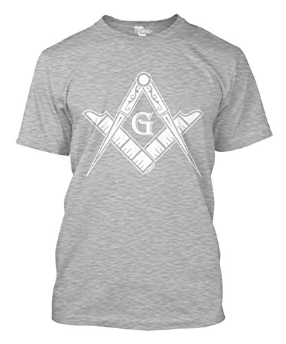 State Logo Square - Tcombo Freemason Logo - Square & Compass Symbol Men's T-Shirt (Light Gray, XXX-Large)