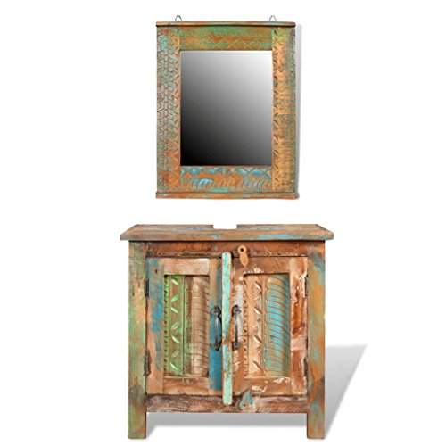 - Festnight 24 Inches Bathroom Vanity Set Solid Reclaimed Wood Cabinet with Square Mirror Set Pure Handmade