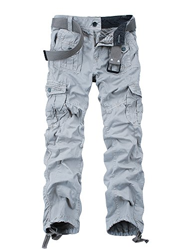 (OCHENTA Men's Cotton Washed Multi Pockets Military Cargo Pant #3380 Light Grey 32 )