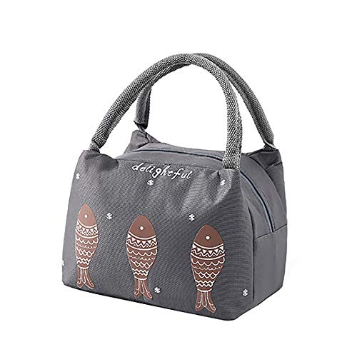 Fish Pattern Lunch Bags For Women And Kids, Aluminum Foil Insulated Thermal Or Refrigerated Tote Bags Reusable Lunch Tote Lunch Organizer(Deep Gray) ()