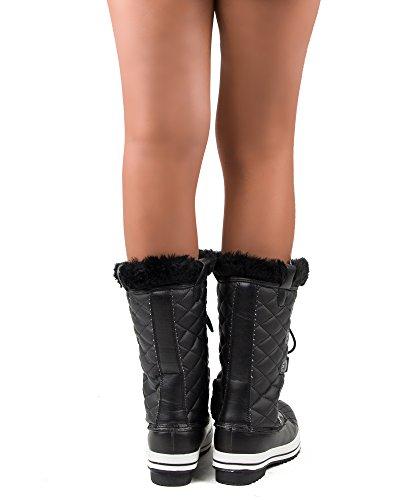 RF ZIMMER DER MODE Frauen Mid Kalb Arctic Warmer Pelz Shearling Lined Steppmuster Wasserabweisend Eskimo Snow Boots Neue Schwarz-1