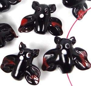 Lampwork Handmade Glass Flying Bat Halloween Beads (6) Spacer Beads and Roll Crystal String for Bracelets Jewelry -