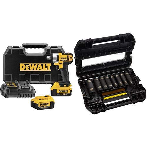DEWALT DCF880M2 20-volt MAX Lithium Ion 1/2-Inch Impact Wrench Kit with Detent Pin with DEWALT DW22812 1/2-Inch 10-Piece IMPACT READY Socket Set (SAE)