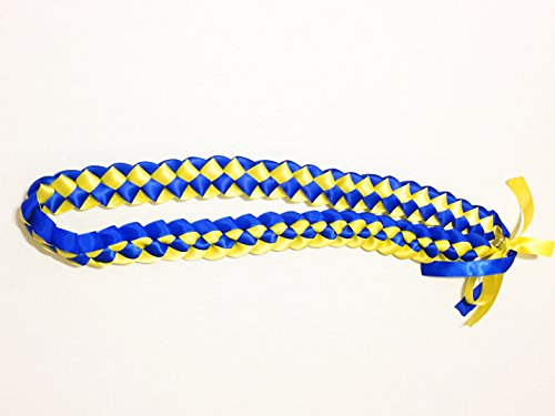 Ribbon Lei - Braided Necklace - Royal Blue & Yellow by A Tangible (Graduation Leis)