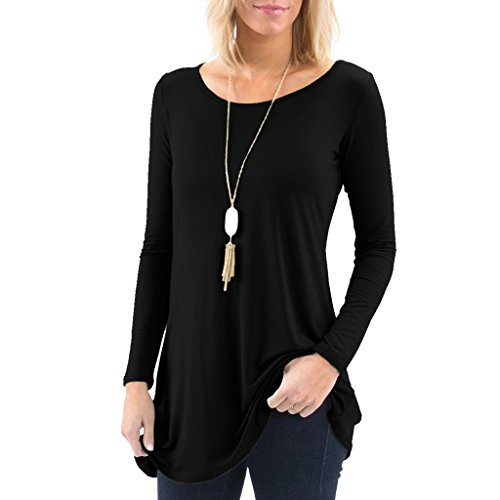 (Posh Women's Long Sleeve Boatneck Tunic with Symmetrical Hem - Super Soft Loose Fit T-Shirt Tunic Top, Perfect Casual Blouse for Leggings & Jeans - X-Large - Black)