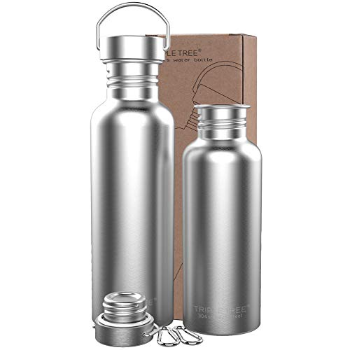 TRIPLE TREE Uninsulated Single Walled Stainless Steel Sports Water Bottle 18/8 for Cyclists, Runners, Hikers, Beach Goers, Picnics, Camping - BPA Free. (26 Ounces) ()