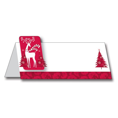 Creative Converting 12 Count Dashing Prancer Place Cards with Attached Reindeer Stickers (Names Of Reindeers 12 Christmas)