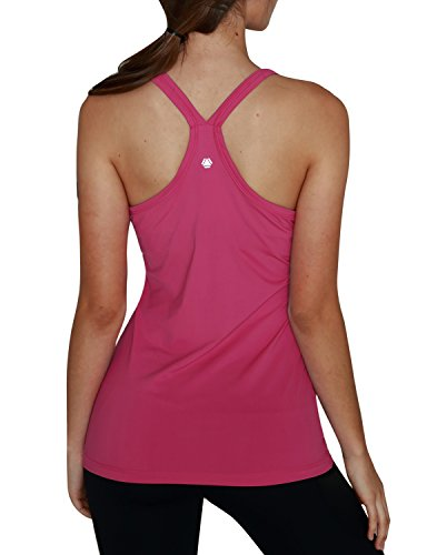 Yoga Reflex Women's Basic Racerback Yoga Running Sports Workout Built in Shelf Bra Activewear Tank Tops , Hotpink , X-Large