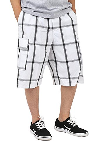 Shaka Wear - Plaid Cargo Shorts for Men - Medium, White -