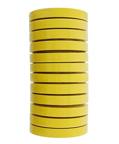 3M 06652 Automotive Refinish Masking Tape, 250 Degree F Performance Temperature, 28 lbs\in Tensile Strength, 55m Length x 18mm Width, Yellow (Case of 12 Rolls) Automotive Refinish Masking Tape