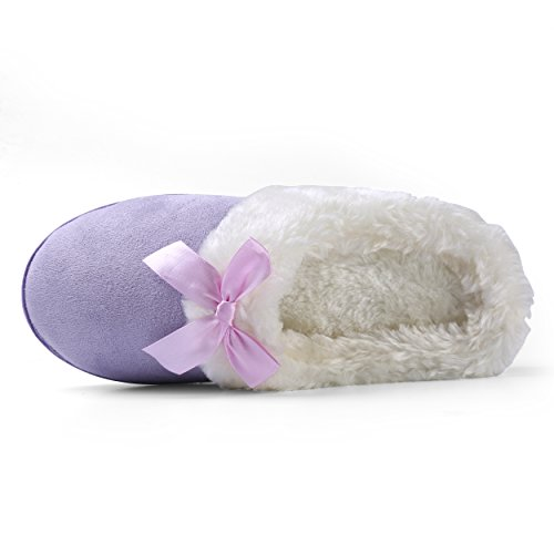 Close Shoes On House Purple Plush Bow Scuff Aerusi Indoor Toe Slip Slipper Bedroom Foam Suede Clog Memory Women's Indoor ZqwvIT