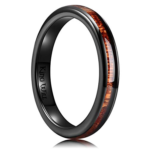 King Will Nature 3mm Black Domed Koa Wood Ceramic Ring Wedding Band Polished Finish Comfort Fit 10 ()
