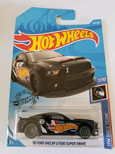 Hot Wheels 2019 Hw Race Team '10 Ford Shelby GT500 Super Snake, 192/250 Black (Ford Shelby Gt500 Super Snake For Sale)