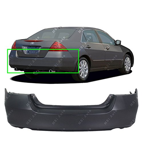 MBI AUTO – Primered, Rear Bumper Cover Fascia for 2006 2007 Honda Accord Sedan & Hybrid 06-07, HO1100233