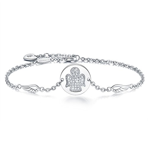 BlingGem 925 Sterling Silver Bracelet Guardian Angel Charm Bracelet for Women Jewelry Gift for Mother's Day