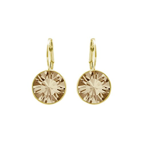 CP Baby Mini Bella Crystal Golden Shadow Gold-plated Earrings Made with Swarovski - Box Womens Mini