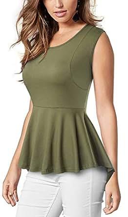 VELJIE Women Casual Blouse Short Sleeve Tunic Peplum Shirt Tops - Green - 4