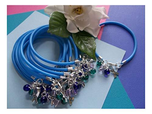 Awareness Bracelet Cancer Thyroid - 12 Thyroid Cancer Awareness Bracelets/Teal-Blue-Pink Beads W/Hope Ribbon