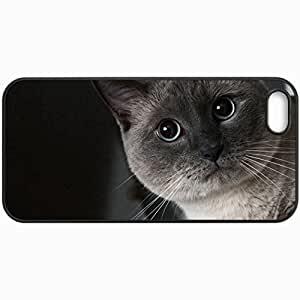 Customized Cellphone Case Back Cover For iPhone 5 5S, Protective Hardshell Case Personalized Cat Face Eyes Shadow Black White Black