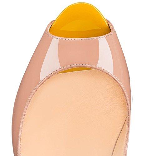 MerMer Zapatos De Tacón Alto de Aguja Con Plataforma Poca de Pez De Moda Para la Fiesta