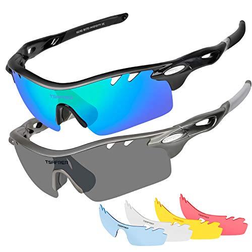 Polarized Sports Sunglasses 2 Pairs for Men Women Cycling Running Driving Fishing Golf Baseball