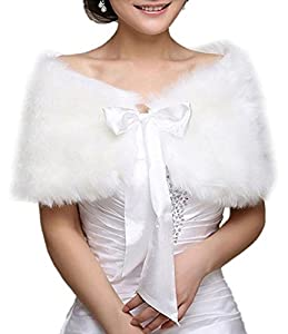 Victorian Wraps, Capes, Shawl, Capelets EQLEF® White Faux Fur Wrap Shawl Shrug Bolero Cape Lady Gift with Satin Bowknot Bridal Ivory Faux Fur Jacket coat shawls stole $13.55 AT vintagedancer.com