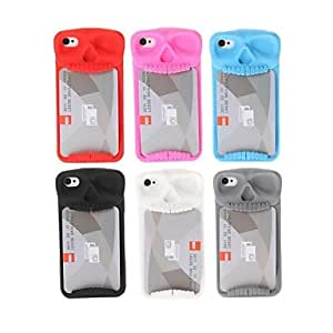 GOG- Card Skeleton Head Silicone Soft Case for iPhone 4/4S(Assorted Colors) , Blue