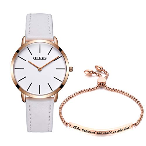 OLEVS Ultra Thin Minimalist Watches for Women White Dial with Inspirational Bracelet Gift Set,Ladies Simple Business Casual Dress Quartz Analog Wrist Watch Waterproof with Genuine Leather Strap Band