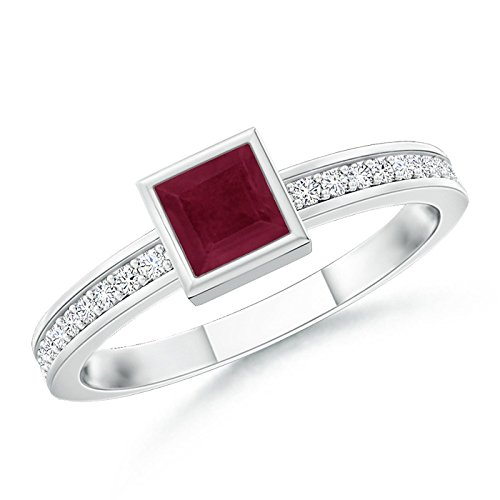 July Birthstone - Bezel-Set Square Natural Ruby Stackable Promise Ring for Women in 14K White Gold (3mm Ruby) (Square Cut Ruby)