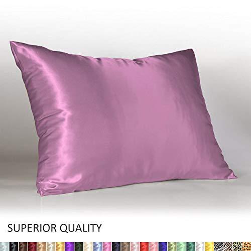 (Shop Bedding Luxury Satin Pillowcase for Hair - Standard Satin Pillowcase with Zipper, Lavender (Pillowcase Set of 2) - Blissford)