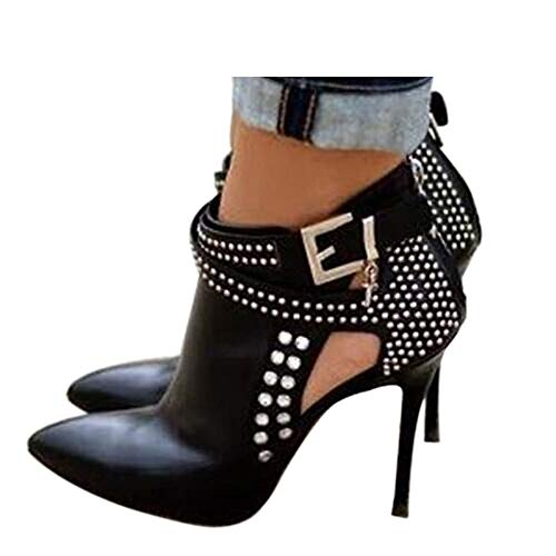 (Ankle Boots for Women,Bare Legged Pointed Women's Boots, Rhinestone Booties Black Size 11)
