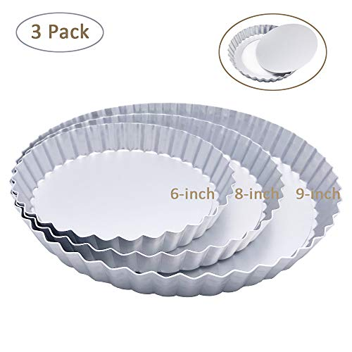 3 Pack(6, 8, 9 Inch) Tart Pan and Quiche Pan, Non-Stick Pan with Removable Base Bottom (Silver Color) - Fat Daddios Fluted Tart