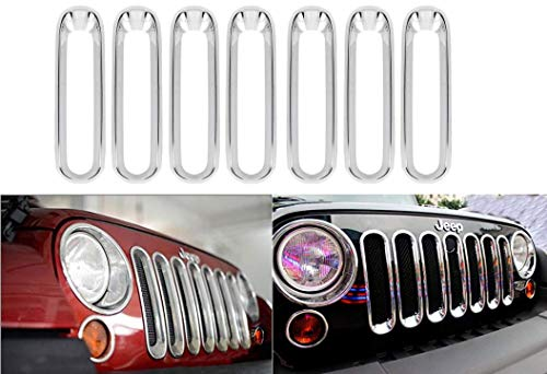 - Moonet Chrome Silver Front Grill Without Mesh Grille Insert Kit Trim for 2007 2008 2009 2010 2011 2012 2013 2014 2015 2016 2017 2018 Jeep Wrangler JK Black 2 4 Door 7pcs