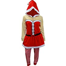Mrs Santa Claus One Piece Hooded Skirted Union Suit Pajama for women