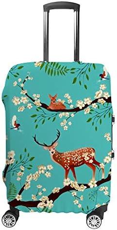 スーツケースカバー 伸縮素材 トランク カバー 洗える 汚れ防止 キズ保護 盗難防止 キャリーカバー おしゃれ 桜の木の上に鳥と鹿 ポリエステル 海外旅行 見つけやすい 着脱簡単 1枚入り