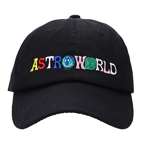 Cap Scott - Detroital Unisex Astroworld Hat Travis Scott Adjustable Baseball Cap Rapper Dad Hat(Black)