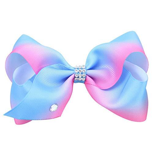 (Girl Rainbow Bows Hairpin large rib Grosgrain Ribbon Bow Hair Clip Baby (Color - Blue))