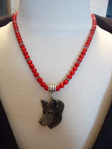 Beaded 6mm Red Coral and Silver Tone Necklace w/Artist Signed Pewter Wolf Pendant